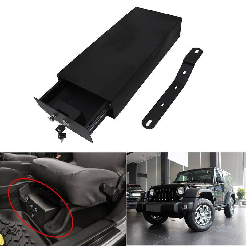 jeep style steel locking key safe box under seat storage for jeep wrangler jeep tribe. Black Bedroom Furniture Sets. Home Design Ideas